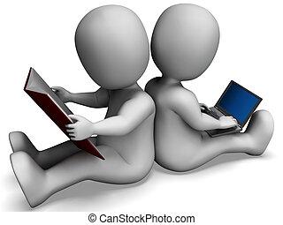 scholieren, studerend , optredens, boek, of, online lerend