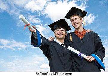 scholieren, twee, afstuderen