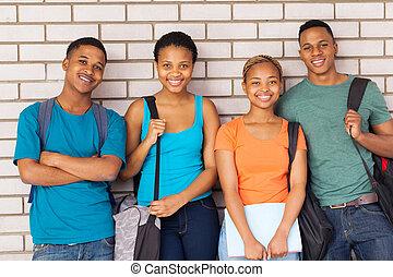 scholieren, universiteit, afro amerikaan, campus