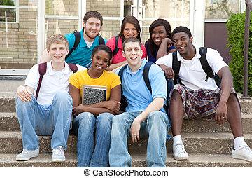 scholieren, universiteit, buiten, multicultureel, campus