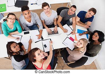scholieren, universiteit, groep, studeren