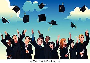 scholieren, vieren, afgestudeerd, hun