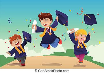 scholieren, vieren, afgestudeerd