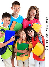 scholieren, vijf, vrolijke