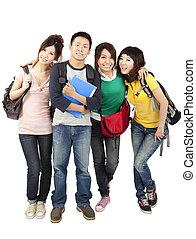 scholieren, vrijstaand, aziaat, achtergrond, witte , vrolijke