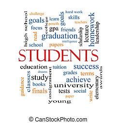 scholieren, woord, wolk, concept