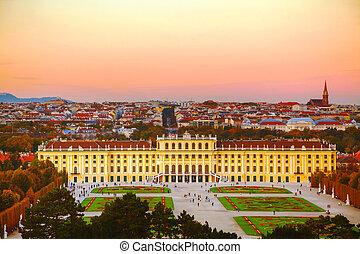 Schonbrunn palace at sunset