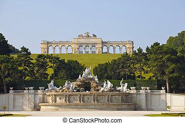 Schonbrunn Palace Gardens at Vienna - View on Gloriette...