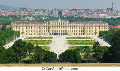 """schonbrunn palace, vienna, austria, timelapse, zoom out,..."