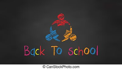 school., étudiants, dos, trois, vecteur, noir, planche, chalk.