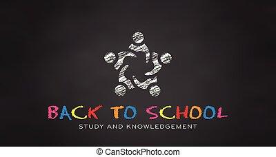 school., étudiants, dos, vecteur, noir, planche, chalk.