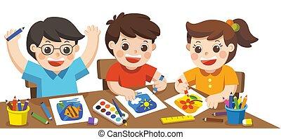 school., 愉快, 玩, 畫, 藝術, 創造性, 素描, 享樂, 背, class., 孩子, 概念, 教育