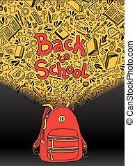 school., 背中, デザイン, 網, いたずら書き, バックパック, 隔離された, 執筆, バックグラウンド。,...