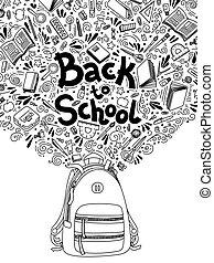 school., 背中, デザイン, 網, いたずら書き, 隔離された, 執筆, バックグラウンド。, テンプレート,...