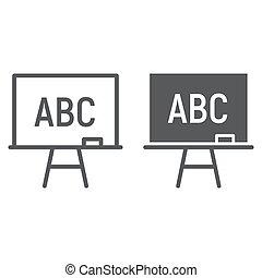 school, 10., lineair, bord, eps, meldingsbord, opleiding, pictogram, vector, stander, model, grafiek, lijn, glyph, witte achtergrond, plank