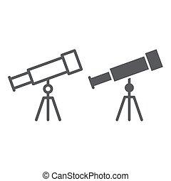 school, 10., telescoop, model, eps, meldingsbord, opleiding, pictogram, vector, grafiek, lijn, astronomie, glyph, witte achtergrond, lineair