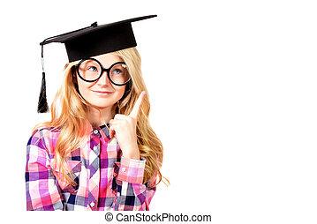 school academy - Portrait of a cute ten years girl in big...