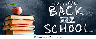 School accessories against blackboard - Back to School....
