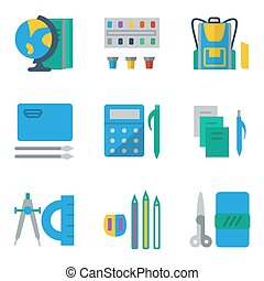 School accessories colored simple vector icons