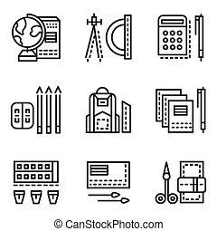 School accessories flat line vector icons