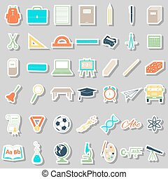 School accessories icons set, stickers style