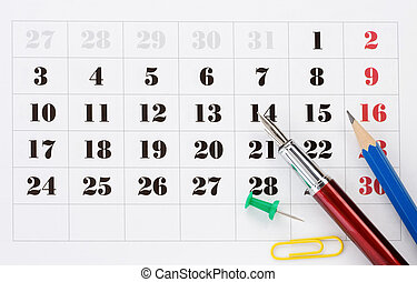 school accessories on calendar - school accessories on...
