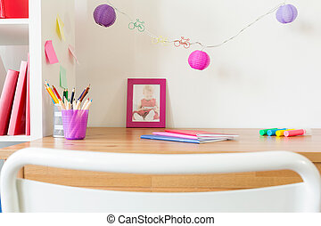 School accessories on kid's table