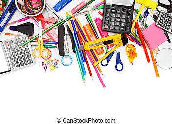School accessories on white background.