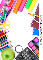 School accessories on a white background.