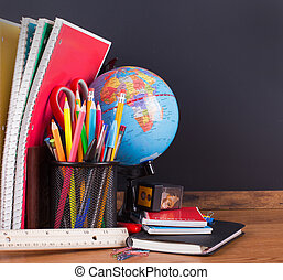 School Accessories with Blank Chalkboard Background
