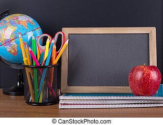 School Accessories with Blank Chalkboard