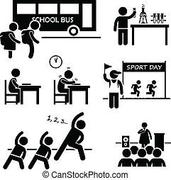 A set of pictograms representing school activities by school children.