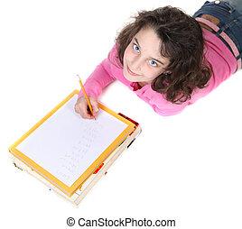 School Aged Girl Doing Her Homework