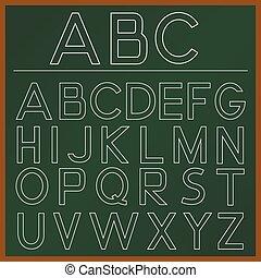 Alphabet - School Alphabet on the green board. Vector...