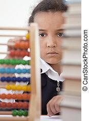 school, amerikaan, afrikaan, gebruik, meisje, telraam, stand
