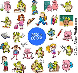 school and education carton characters set