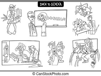 school and education carton set for coloring