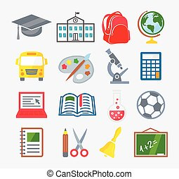 School and Education Colorful Icons