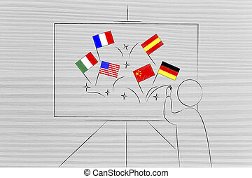 mixed foreign language flags on teacher's whiteboard - ...