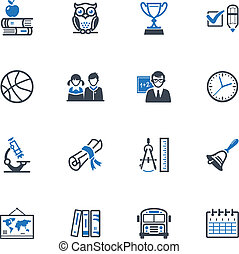 School and Education Icons 3 - Set of 16 school and...