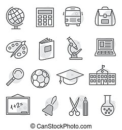 School and Education Icons on white background