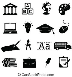 School and education icons - School and education related ...