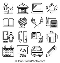 School and Education Icons Set on White Background. Line Style Vector