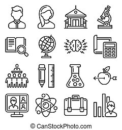 School and Education Icons Set on White Background. Vector