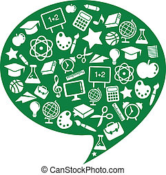 School and education icons - Thought bubble with school and...
