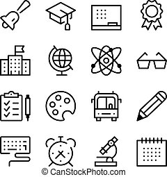 School and Education line icons set. Modern graphic design concepts, simple outline elements collection. Vector line icons