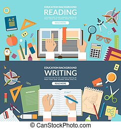 School and education, reading and writing concept banner set. Flat design vector illustration background