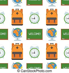 School and Education Seamless Pattern
