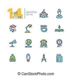 School and Education - thick line icons set - School and...