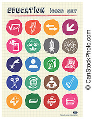 School and education web icons set